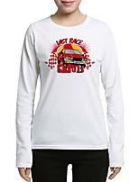 T-shirt Da donna Per uscire Casual Moda città Stoffe orientali Autunno,Con stampe Rotonda Cotone Manica lunga Medio spessore