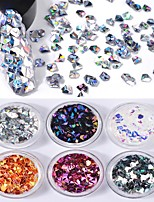 6 color 3D Diamond Solid Form Laser Colorful Sequins 1g/box