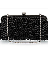 Women Bags All Seasons Polyester Evening Bag Buttons Pearl Detailing for Casual Champagne White Black