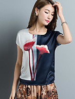 Women's Daily Casual T-shirt,Print Round Neck Short Sleeves Silk