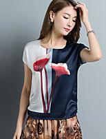 Tee-shirt Femme,Imprimé Décontracté / Quotidien simple Manches Courtes Col Arrondi Soie