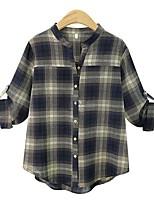 Для женщин На каждый день Лето Рубашка Воротник-стойка Гусиная лапка Длинный рукав,Хлопок,Средняя
