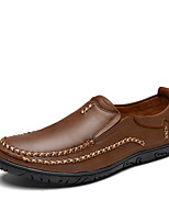 Men's Shoes Nappa Leather Spring Fall Comfort Loafers & Slip-Ons For Office & Career Party & Evening Dark Brown Light Brown