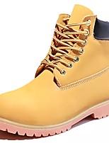 Для женщин Обувь Наппа Leather Осень Зима Армейские ботинки Ботинки На низком каблуке Круглый носок Шнуровка Назначение Желтый