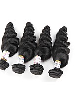 3 Pieces 4 Pieces Natural Black Loose Wave Brazilian Human Hair Weaves Hair Extensions 0.4kg
