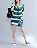 Women's Daily Casual Summer T-shirt,Striped Round Neck Short Sleeves Cotton Medium
