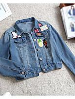 Feminino Jaqueta jeans Casual Simples Outono,Estampado Curto Algodão Colarinho de Camisa Manga Longa