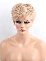 жен. Человеческие волосы без парики Черный Medium Auburn Medium Auburn / Bleach Blonde Короткий Прямые Боковая часть