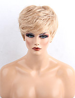Women Human Hair Capless Wigs Medium Auburn/Bleach Blonde Medium Auburn Black Short Straight Side Part