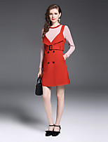 YIYEXINXIANG Women's Daily Work Sophisticated Fall T-shirt Skirt Suits,Solid Round Neck Long Sleeve Cotton Polyester