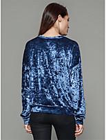 Tee-shirt Femme,Lettre Décontracté / Quotidien simple Hiver Manches Longues Col Arrondi Polyester Moyen