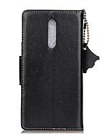 para capa de caso porta-carteira de carteira flip caso de corpo inteiro cor sólida couro duro e genuíno para nokia nokia 8