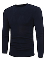 Men's Plus Size Casual/Daily Simple Regular Pullover,Solid Round Neck Long Sleeves Polyester Spandex Others Fall Winter Medium