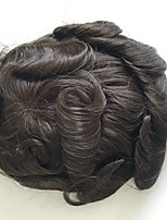 PANSY Mono Lace Toupee 6x8 Indian Human Hair Systems Replacement Mono Toupee For Men Medium Brown Color