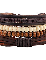 Men's Women's Leather Bracelet Strand Bracelet Handmade Bohemian Leather Wood Round Line Jewelry For Casual Going out