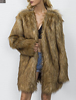 Women's Plus Size Casual/Daily Simple Fall Winter Fur Coat,Solid V Neck Long Sleeve Regular Faux Fur
