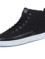 Men's Shoes Rubber Fall Comfort Sneakers Lace-up For Outdoor Beige Black White