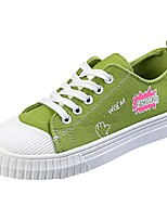 Women's Shoes PU Denim Fall Comfort Sneakers Flat Heel Round Toe Lace-up For Casual Blushing Pink Green Black