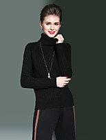 ALLA ONER Women's Going out Casual/Daily Simple Regular PulloverSolid Turtleneck Long Sleeves Rayon Polyester Nylon Fall Winter Thick Micro-elastic