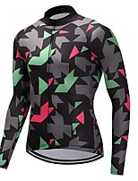 Cycling Jersey Unisex Long Sleeves Bike Jersey Quick Dry 100% Polyester Fleece Camouflage Winter Mountain Cycling Cycling Motorsports