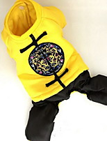 Cat Dog Coat Jumpsuit Dog Clothes Cosplay New Year's Solid Yellow Red Blue Costume For Pets