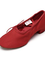 Women's Jazz Canvas Practice Chunky Heel Red 1