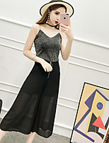 Women's Casual/Daily Simple Summer Tank Top Pant Suits,Solid Strap Sleeveless