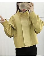 Women's Going out Street chic Fall Denim Jacket,Solid Shirt Collar Long Sleeve Regular Others