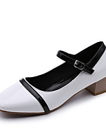 Women's Shoes PU Fall Winter Comfort Heels Chunky Heel Pointed Toe Buckle For Casual Dress Black White
