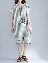 T-shirt Da donna Casual Semplice A strisce Con stampe Rotonda Cotone Lino Manica corta