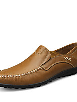 Men's Shoes Real Leather Spring Fall Comfort Loafers & Slip-Ons Split Joint For Casual Khaki Brown