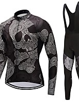Cycling Jersey with Bib Tights Unisex Long Sleeves Bike Clothing Suits Windproof Fashion Skull Winter Cycling/Bike White Black
