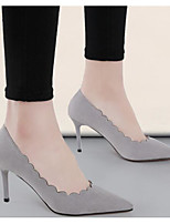 Women's Shoes Nubuck leather PU Spring Fall Basic Pump Heels Stiletto Heel For Casual Almond Gray Black