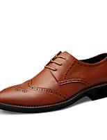 Men's Shoes Cowhide Spring Fall Comfort Oxfords Flower For Casual Party & Evening Brown Black