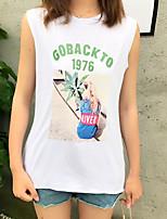 T-shirt Da donna Per uscire Moda città Estate,Con stampe Alfabetico Rotonda Cotone Senza maniche Sottile