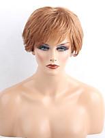жен. Человеческие волосы без парики Medium Auburn Клубника Blonde / Bleach Blonde Короткий Прямые Боковая часть