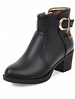 Для женщин Обувь Дерматин Полиуретан Осень Зима Удобная обувь Оригинальная обувь Ботильоны Ботинки На толстом каблуке Круглый носок