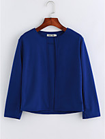Women's Daily Sophisticated Fall Blouse,Solid Crew Neck Long Sleeves Polyester Thin