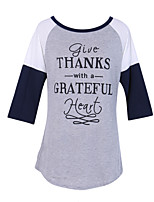 Women's Daily Holiday Street chic Fall T-shirt,Letter Round Neck Long Sleeves Cotton
