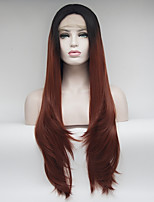 Women Synthetic Wig Lace Front Medium Length Long Straight Black/Auburn Natural Hairline Natural Wigs Costume Wig