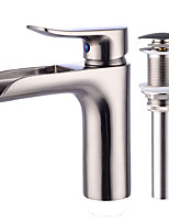 Art Deco/Retro Centerset Waterfall with  Ceramic Valve Single Handle One Hole for  Nickel Brushed , Bathroom Sink Faucet