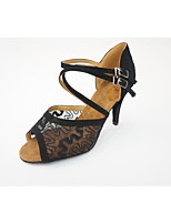 Women's Latin Lace Faux Suede Heel Indoor Pattern/Print High Heel Black Red Almond 2