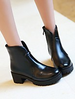 Women's Shoes PU Leatherette Fall Winter Comfort Novelty Bootie Boots Chunky Heel Round Toe Booties/Ankle Boots Zipper For Party &