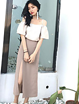 Women's Going out Street chic Summer T-shirt Skirt Suits,Solid Strapless Sleeveless Cut Out Inelastic