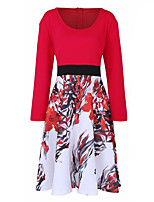 Women's Holiday Plus Size Swing Dress,Floral Color Block Round Neck Above Knee Long Sleeves Polyester Spring Fall High Rise Micro-elastic