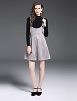 YIYEXINXIANG Women's Casual/Daily Work Sophisticated Fall Sweater Skirt Suits,Solid Round Neck Long Sleeve Stretchy