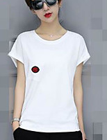 Women's Going out Casual T-shirt,Solid Round Neck Short Sleeves Cotton Acrylic