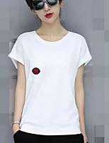 Tee-shirt Femme,Couleur Pleine Sortie simple Manches Courtes Col Arrondi Coton Acrylique