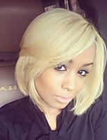 Women Human Hair Capless Wigs Beige Blonde//Bleach Blonde Yellow Black Medium Length Straight Side Part