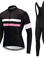 Cycling Jersey with Bib Tights Unisex Long Sleeves Bike Clothing Suits Windproof Solid Classic Winter Cycling/Bike White Black